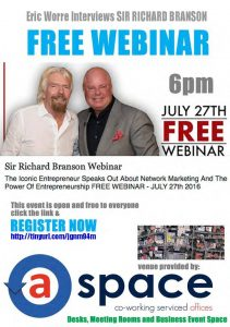 Eric Worre Interviews Sir Richard Branson - free webinar