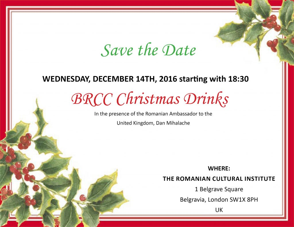 Save the Date 14 December 2016: BRCC Christmas Reception @ The Romanian Cultural Institute  | London | England | United Kingdom