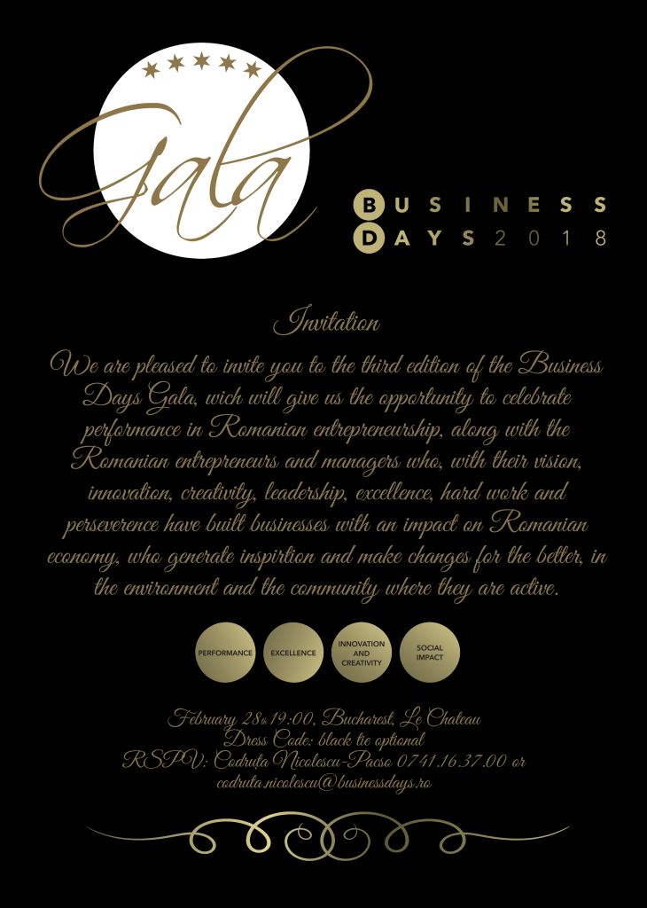 Business Days Gala @  Le Chateau | București | Municipiul București | Romania