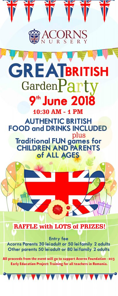 Acorns Nursery has the honour to invite you to the annual GREAT BRITISH GARDEN PARTY. @ Acorns Nursery | București | Municipiul București | Romania